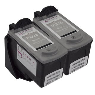 Sophia Global Remanufactured Black Ink Cartridge Replacement for Canon PG-30 with Ink Level Display (Pack fo 2)