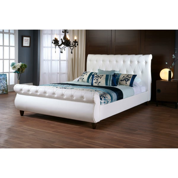 Baxton Studio Ashenhurst White Modern Sleigh Bed With Upholstered Headboard Queen Size
