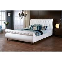 Baxton Studio Ashenhurst White Modern Sleigh Bed with Upholstered Headboard - Queen Size