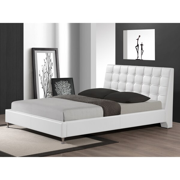 baxton studio zeller white modern bed with upholstered headboard queen size - Modern Bed Frames Queen