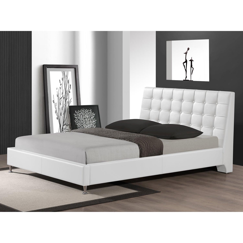 Baxton Studio Zeller White Modern Bed with Upholstered He...