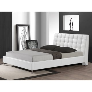 Baxton Studio Zeller White Modern Bed with Upholstered Headboard - Queen Size