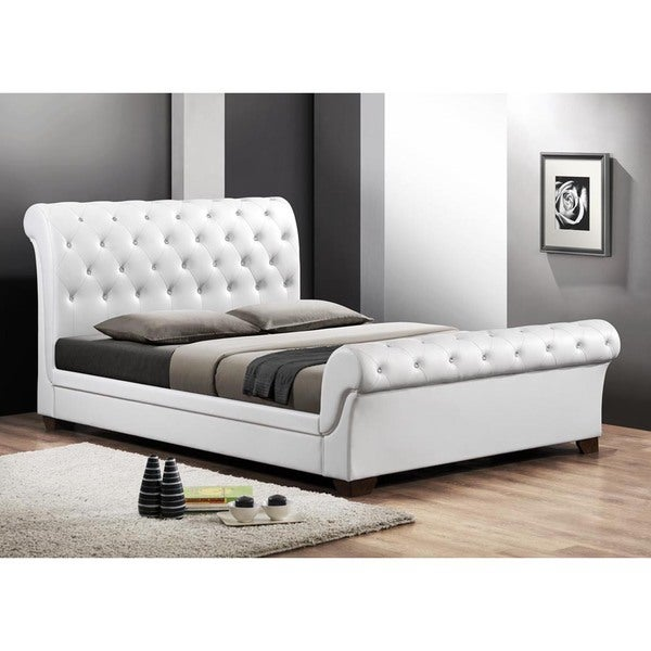 shop baxton studio leighlin white modern sleigh bed with upholstered headboard full size. Black Bedroom Furniture Sets. Home Design Ideas