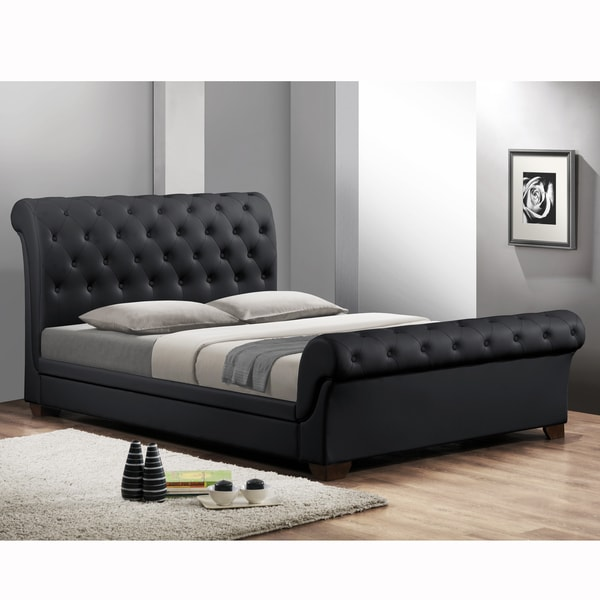 Leighlin Black Modern Sleigh Bed With Upholstered Headboard Full Size