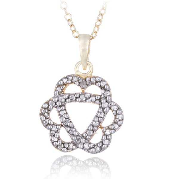 DB Designs 18k Gold Over Silver Diamond Accent Heart Flower Necklace