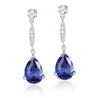 Icz Stonez Sterling Silver Blue and Clear Cubic Zirconia Teardrop Earrings