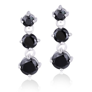 Icz Stonez Sterling Silver Cubic Zirconia 3 1/10ct TGW Three Stone Dangle Earrings