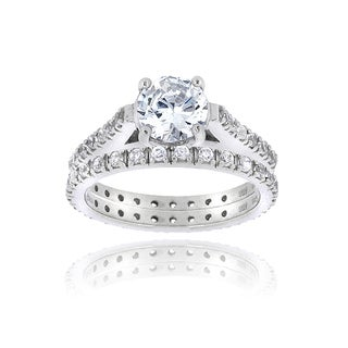 Icz Stonez Sterling Silver Round Cubic Zirconia Bridal Ring Set (3 5/8ct TGW)