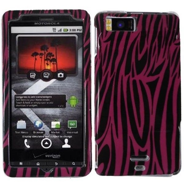 INSTEN Pink Zebra Phone Case Cover for Motorola Droid X MB810/ Droid X2 MB870