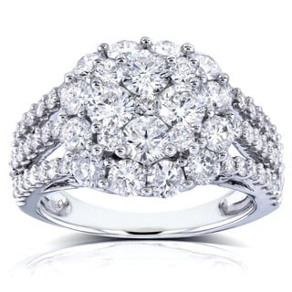 Annello by Kobelli 14k White Gold 3ct TDW Multi-row Diamond Cluster Engagement Ring (G-H, I1-I2)