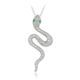 Glitzy Rocks Sterling Silver Diamond and Lab Created Green Quartz Snake Necklace