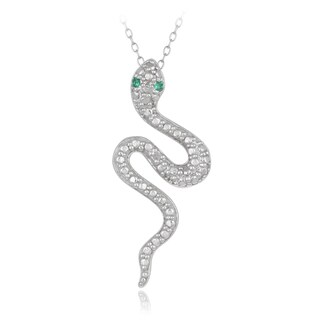 Glitzy Rocks Sterling Silver Diamond and Lab Created Green Quartz Snake Necklace