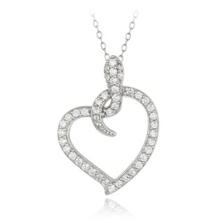 Icz Stonez Sterling Silver Cubic Zirconia Snake Heart Necklace