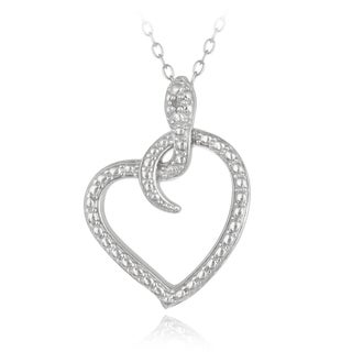 DB Designs Sterling Silver Diamond Accent Snake Heart Necklace