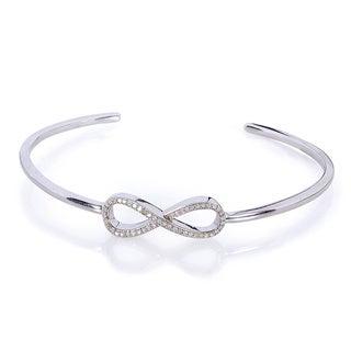 Annello by Kobelli Sterling Silver 1/5ct TDW Diamond Sideways Infinity Bangle (H-I, I1-I2