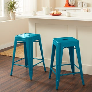 Carbon Loft Tabouret 24-inch Peacock Counter Stools (Set of 2)