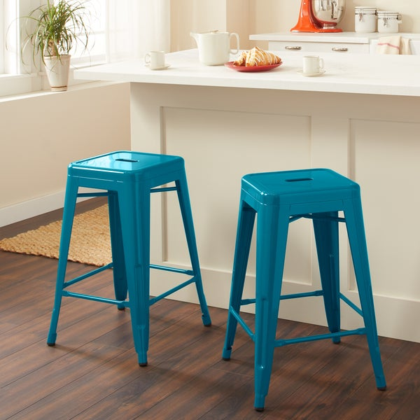 Shop Tabouret 24 Inch Peacock Counter Stools Set Of 2