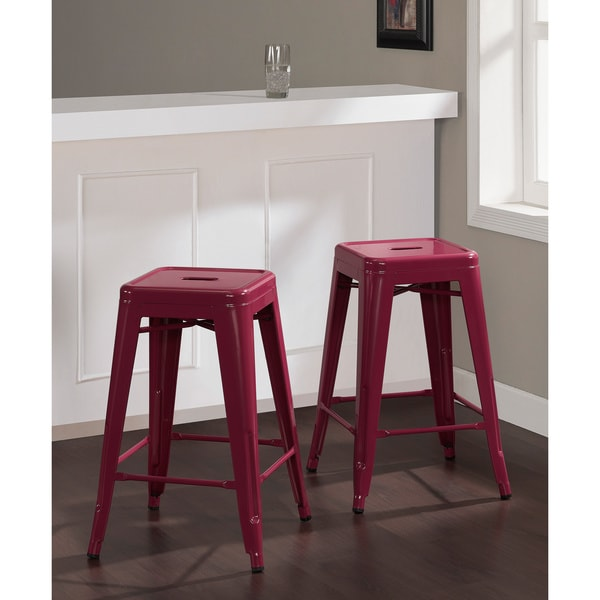 Shop Tabouret 24-inch Razzleberry Counter Stools (Set Of 2