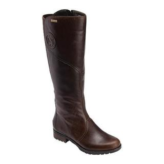 Women's Rockport Tristina Gore Tall Boot Wide Calf Brownie Full Grain Leather