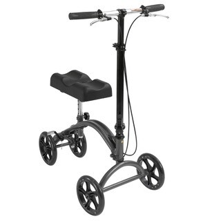 Drive Medical DV8 Aluminum Steerable Knee Walker Knee Scooter Crutch Alternative - silver vein