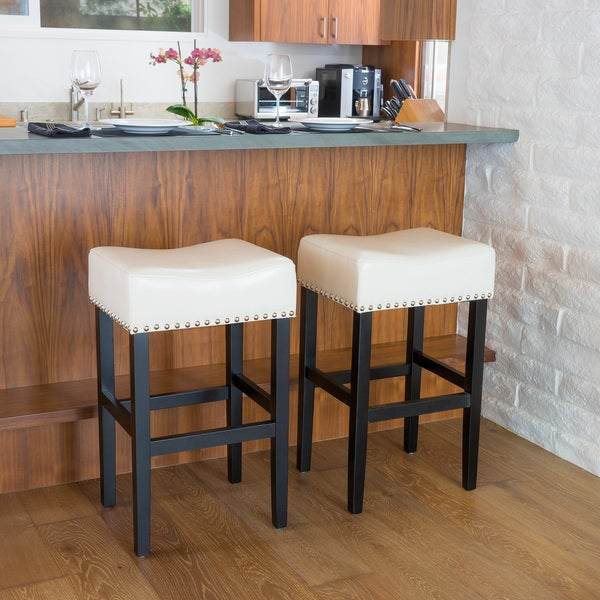 Lisette Backless Leather Bar Stool Set Of 2 By