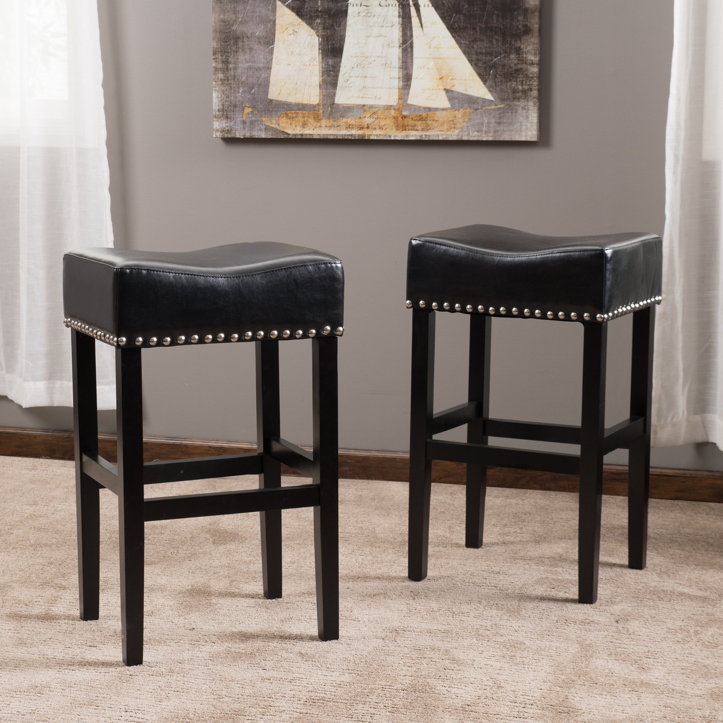 Enjoyable Home Garden Set Of 2 Black Leather Backless Counter Stools Uwap Interior Chair Design Uwaporg