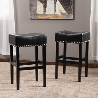 Lisette 30-inch Backless Leather Bar Stool (Set of 2) by Christopher Knight Home