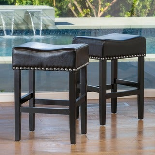 Lisette 26-inch Backless Black Leather Counter Stool (Set of 2) by Christopher Knight Home