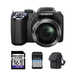 Olympus SP-820UZ iHS 14MP Black Digital Camera 16GB Bundle