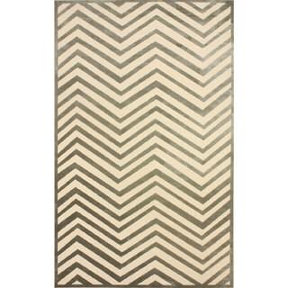 nuLOOM Modern Chevron Cream Faux Silk Rug (5'1 x 8')