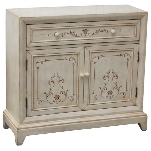 Preston Antique White Wood Accent Cabinet