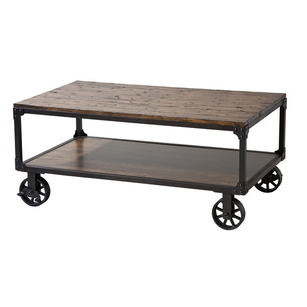 Holly Industrial Cocktail Cart Table with Natural Wood Top