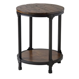 Kirstin Industrial Style Round End Table - Black