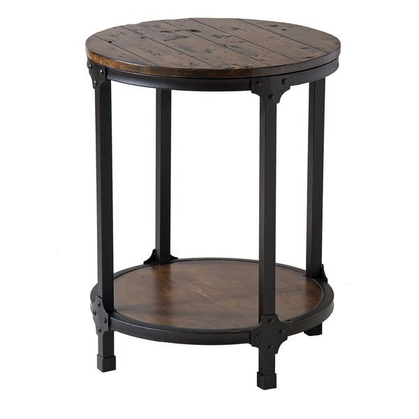 Table Round Industrial Coffee Table Gratifying Ballard: Shop Kirstin Industrial Style Round End Table