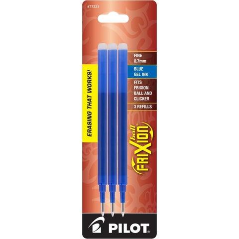 Pilot FriXion Eraseable Gel Ink Pen Fine Point Blue Gel Ink Refills (Pack of 3)