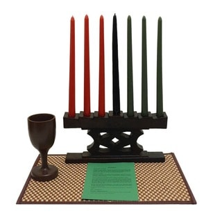 Hand-finished Adinkra Kwanzaa Candle Holder Set (Ghana)