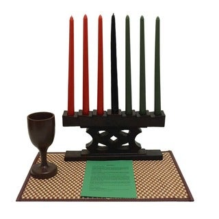 Hand-finished Adinkra Kwanzaa Candle Holder Set (Ghana)
