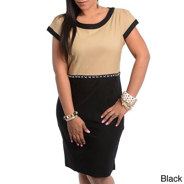 Stanzino Women's Plus Size Two-tone Knee Length Casual Dress