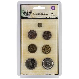 Mechanicals Metal Embellishments - Vintage Center 7/Pkg