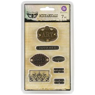 Mechanicals Metal Embellishments - Plate & Label 7/Pkg