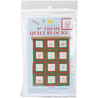 Themed Stamped White Quilt Blocks 9 X9  12/Pkg - Ornaments