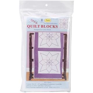 Stamped White Quilt Blocks 18 X18  6/Pkg - XX Stars