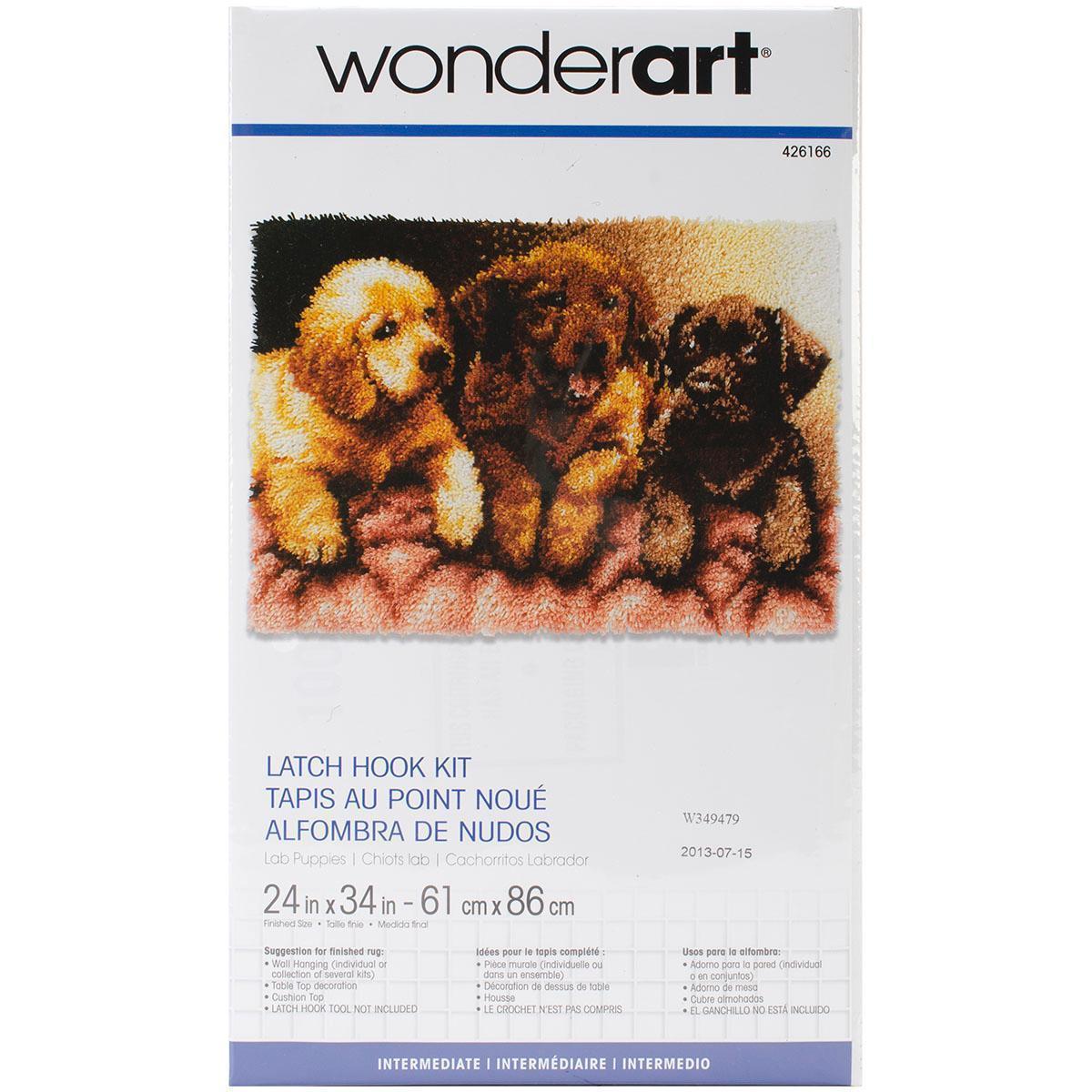 Caron Wonderart Latch Hook Kit 24 X34 - Lab Puppies (Wond...