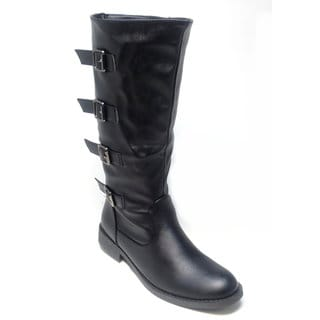 Blue Women's 'Kimmy' Black Knee-high Buckled Riding Boots