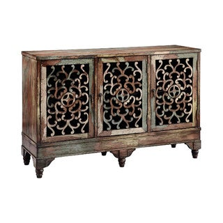 Ruskin Style 3-door Distressed Accent Cabinet - Brown