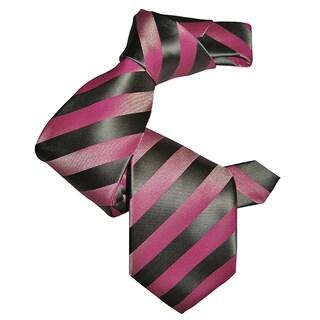 Sophisticated Dmitry Men's Pink Striped Italian Silk Tie