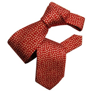 Dmitry Men's Red Flower-Patterned Italian Silk Tie