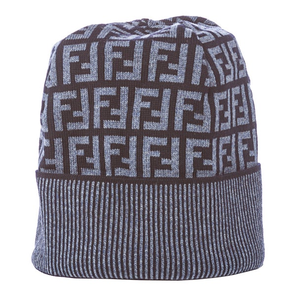 Shop Fendi Blue Zucca Print Wool Skull Cap - Free Shipping Today ... af354b8ff0d