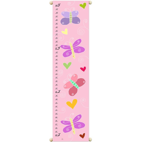 Shop Buttlerflies On Pink Growth Chart Free Shipping On Orders