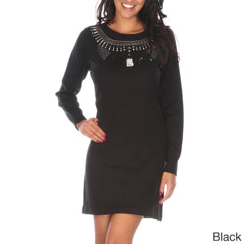 White Mark Women's Jewel Embellished Sweater Dress